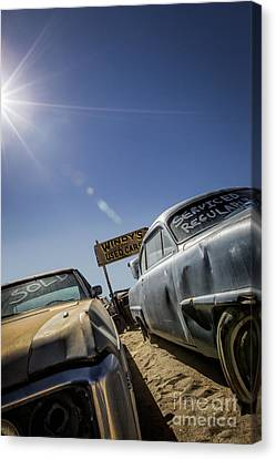 Windy's Used Cars- Metal And Speed Canvas Print by Holly Martin