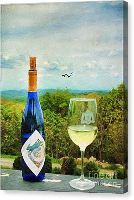 Wine Scene Canvas Print - Wine And A View by Darren Fisher