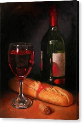 Wine And Baguette Canvas Print