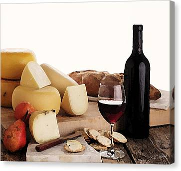 Wine And Cheese Canvas Print by Cole Black