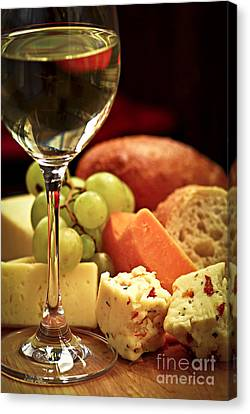 Grapes Canvas Print - Wine And Cheese by Elena Elisseeva