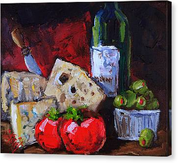 Malbec Canvas Print - Wine And Cheeses by Carole Foret