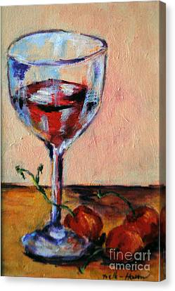 Long Stem Wine Glass Canvas Print - Wine And Cherries by Toelle Hovan