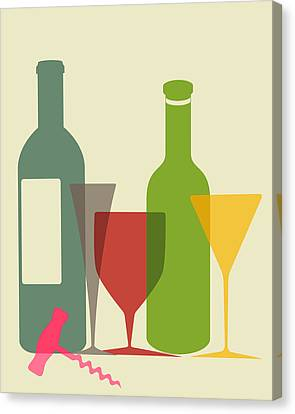 Wine-bottle Canvas Print - Wine And Dine by Ramneek Narang