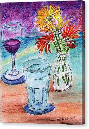 Wine And Flowers 2 Canvas Print by William Killen
