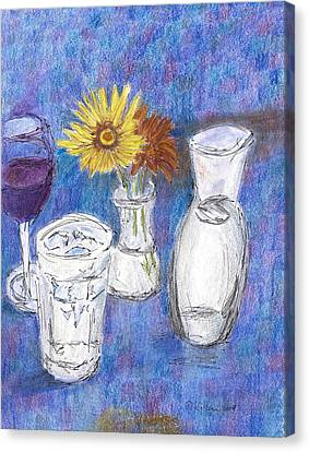 Wine And Flowers Canvas Print by William Killen