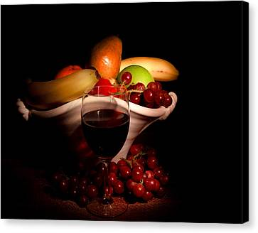 Wine And Fruit Canvas Print by Cecil Fuselier
