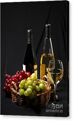 Grapes Canvas Print - Wine And Grapes by Elena Elisseeva