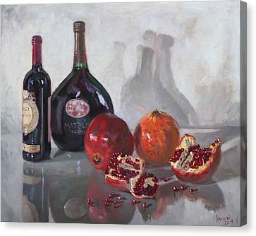 Wine And Pomegranates Canvas Print by Ylli Haruni
