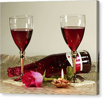 Wine And Rose By Candlelight Canvas Print by Inspired Nature Photography Fine Art Photography