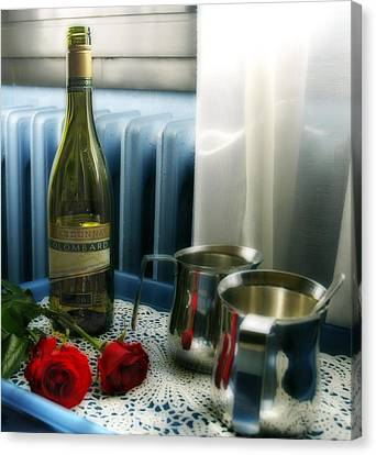 Silver-filled Canvas Print - Red Roses And Chardonay Bottle by Ginger Wakem