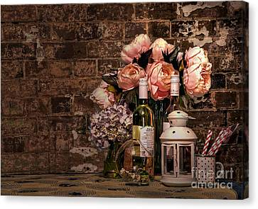 Wine And Roses Canvas Print by Kaye Menner