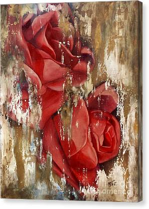 Wine And Roses Canvas Print by Rebecca Glaze