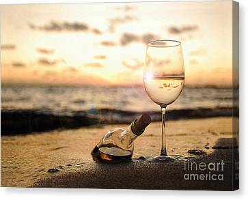 Wine Bottle Canvas Print - Wine And Sunset by Jon Neidert