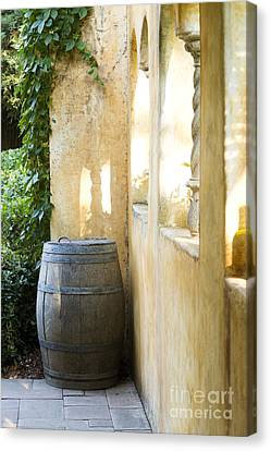 Wine Barrel At The Vineyard Canvas Print by Jon Neidert