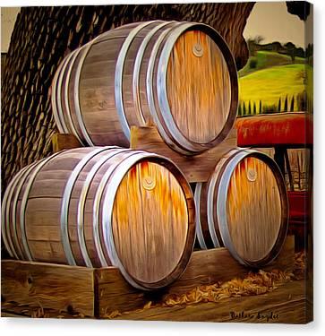 Wine Barrels Blackjack Winery Canvas Print by Barbara Snyder