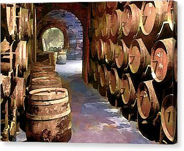 Wine Barrels In The Wine Cellar Canvas Print by Elaine Plesser