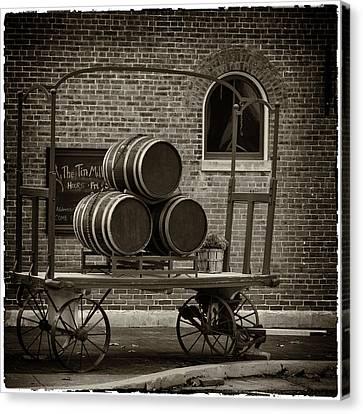 Wine Barrels On Rr Cart Hermann Mo Dsc09285 Canvas Print