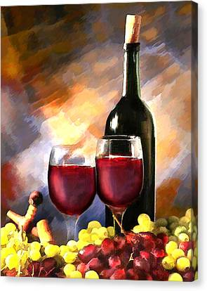 Wine Before And After Canvas Print by Elaine Plesser