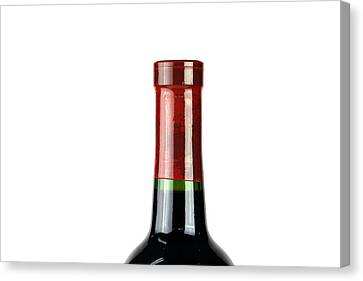 Wine Bottle Isolated On White Canvas Print by Michael Ledray