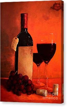 Wine Bottle - Wine Glasses - Red Grapes Vintage Style Art Canvas Print by Patricia Awapara