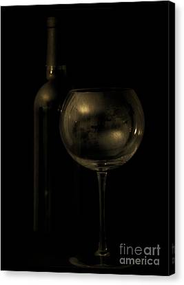 Wine Bottle Still Life Deep Red Canvas Print by Edward Fielding