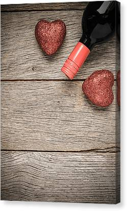 Wine Bottle With Hearts For Valentine's Day Canvas Print