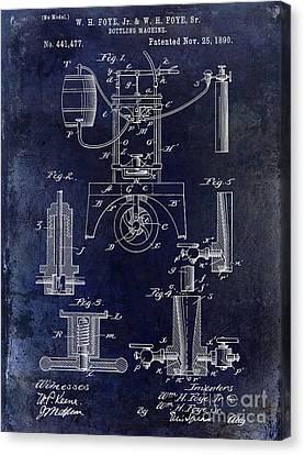 Wine Glass Canvas Print - 1890 Wine Bottling Machine  by Jon Neidert