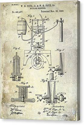 1890 Wine Bottling Machine Canvas Print