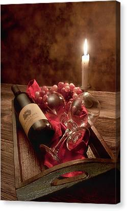 Candle Lit Canvas Print - Wine By Candle Light I by Tom Mc Nemar