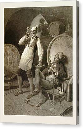 Wine Cellar, Drinking A Glass Of Wine, Two Men, Wine Canvas Print by English School