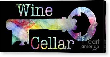 Wine Cellar Watercolor On Black Canvas Print by Jon Neidert