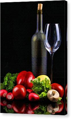Wine For A Salad Canvas Print by Elaine Plesser