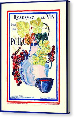 Wine For Soldiers 1916 Canvas Print by Padre Art