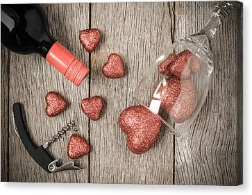 Wine Glass Corkscrew And Wine With Red Hearts On Valentine's Da Canvas Print