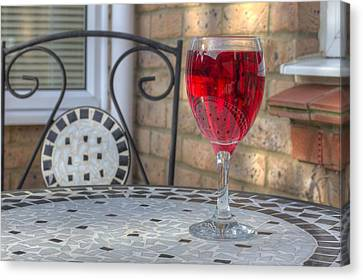 Wine Glass On Table Al Fresco Canvas Print by Fizzy Image