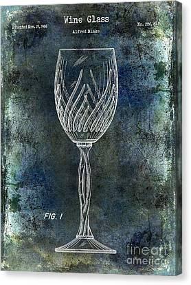 Napa Valley Vineyard Canvas Print - Wine Glass Patent Drawing Antique Blue by Jon Neidert