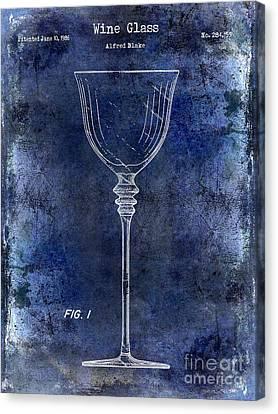 Napa Valley Vineyard Canvas Print - Wine Glass Patent Drawing Blue by Jon Neidert