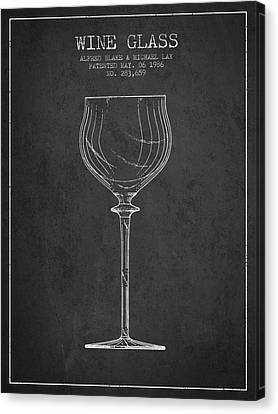 Wine Glass Patent From 1986 - Charcoal Canvas Print by Aged Pixel