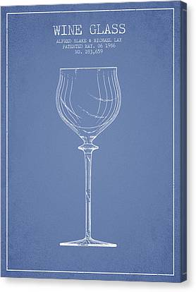 Wine Glass Patent From 1986 - Light Blue Canvas Print by Aged Pixel