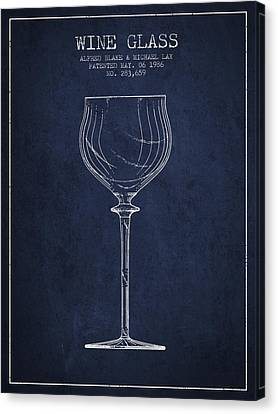 Wine Glass Patent From 1986 - Navy Blue Canvas Print by Aged Pixel