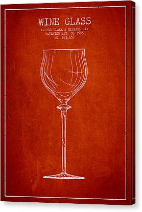 Wine Glass Patent From 1986 - Red Canvas Print by Aged Pixel