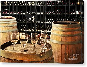 Cellar Canvas Print - Wine Glasses And Barrels by Elena Elisseeva