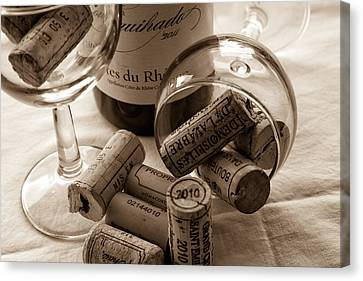 South Of France Canvas Print - Wine Glasses And Corks Toned by Georgia Fowler
