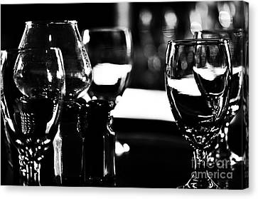 Wine Glasses On Table Canvas Print