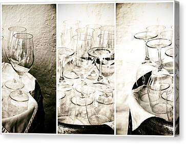 Wine Glasses Triptych Canvas Print by Georgia Fowler