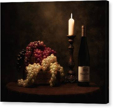 Candle Lit Canvas Print - Wine Harvest Still Life by Tom Mc Nemar