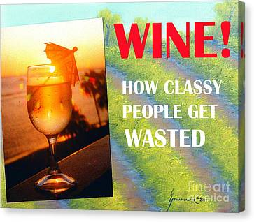 Blue Grapes Canvas Print - Wine How Classy People Get Wasted by Jerome Stumphauzer