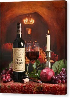 Wine In Le Cav Canvas Print by Mel Felix