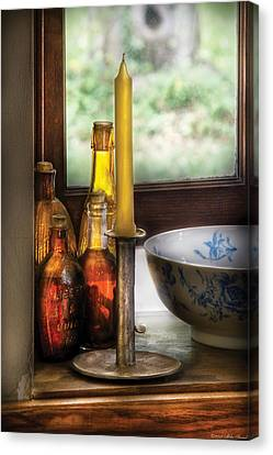 Wine Scene Canvas Print - Wine - Nestled In A Corner Of A Window Sill  by Mike Savad